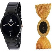 IIK Collction Black Men and Fency Zulla Gold Women Watches Couple for Men and Women
