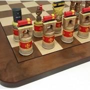 "Santa Fe TRAINS Steam vs Diesel Train Engine Chess Set W/ 17"" Walnut & Maple Veneer Board"