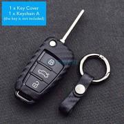 SLB Works ATOBABI Carbon Fiber Car Key Case Keychain for Audi S Line A1 A2 A3 A5 TT Q3 R8 S6 S7 SQ5 RS5 Folding Remote Fob Key Shell Cover