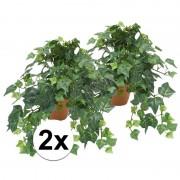 Bellatio flowers & plants 2x Kunstplant klimop groen in terracotta pot 30 cm
