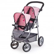 Bayer Doll's Pram Twins Grey and Pink 26508AA