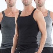 Papi [3 Pack] Premium Cotton Essentials Square Neck Tank Top T Shirt Black & Grey & Light Grey 559102-962