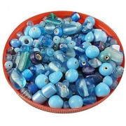 eshoppee handmade glass beads mixing 100 gm 5 to 15 mm beadsapprox 110 beads for art craft jewellery making and home decoration DIY kit (turquoise 60 100 gm)