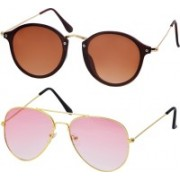 Freny Exim Aviator Sunglasses(Brown, Pink)