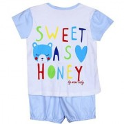 Solid Chest Printed Night Suit - Blue ( 3-6 Month)