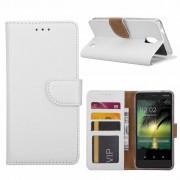 Luxe Lederen Bookcase hoesje voor de Nokia 2 - Wit