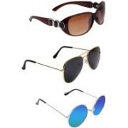 FEMISH Aviator, Round, Wayfarer Sunglasses(Golden, Brown, Blue)