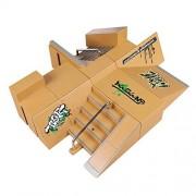 Wilsea 8pcs Skate Park Kit Ramp Parts for Tech Deck Fingerboard Mini Finger Skateboard Fingerboards Ultimate Parks
