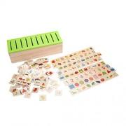 YiGooood Wooden Classification Toy Box - Montessori Kids Pattern Matching Classify Toy Educational Geometry Fruit Animal Learning Match Toy