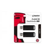 Kingston DataTraveler USB 2.0 fiable y sin Tapa, 2 Unidades, 64 GB
