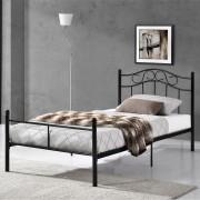 [en.casa]® Egyszemélyes ágy Split 90 x 200 cm fémkeretes vintage ágykeret design ágy fekete