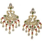 Rubans Gold Toned Colorstone Chandelier Earrings