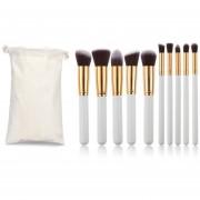 ER 10pcs/Set Pinceles Maquillaje Kit De Cosméticos Sombra Intensos Powder Foundation Pincel De Labios -Golden