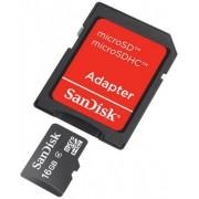 Card de memorie SanDisk micro SDHC 16GB (Class 4) + Adaptor SD