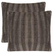 vidaXL Huse de pernă din blană artificială, 50 x cm, gri, 2 buc.