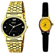 Black Dial And Golden Chain Men And Black Strap Ladies Watches