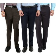 Gwalior Pack Of 3 Formal Trousers - Blue Brown Grey