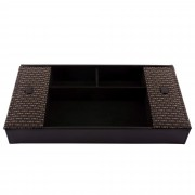 Cutie pentru bijuterii Rasteli, din piele ecologica si ratan, 30 x 16 x 4.5 cm, Negru