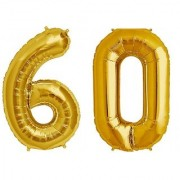 De-Ultimate Solid Golden Color 2 Digit Number (60) 3d Foil Balloon for Birthday Celebration Anniversary Parties