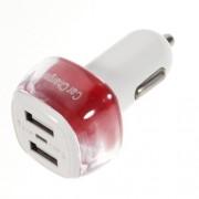 USB зарядно за кола - червено
