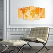 Tablou decorativ multicanvas Charm, 5 Piese, Harta Lumii vintage, 223CHR3948, Multicolor