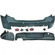 Paraurti posteriore TUNING BMW Serie1 E87 E81 3 e 5 porte, 2004-2011 verniciabile look M-Tech, per sensori, scarico sx