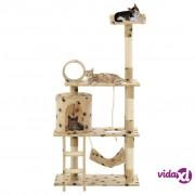 vidaXL Penjalica za mačke sa stupovima za grebanje od sisala 140 cm bež s uzorkom šapa
