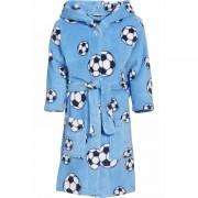 Playshoes Blauwe badjas/ochtendjas met voetbal print voor kinderen.