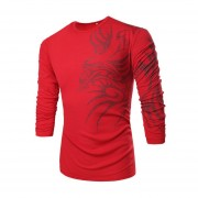 Hombres Camiseta De Manga Larga De Base Con Dragón Patrón (rojo)