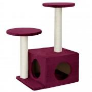 [en.casa]® Rascador para gatos árbol para trepar y arañar sisal centro de juegos -43 x 33 x 67cm rojo oscuro