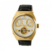 Heritor Automatic Oxford Semi-Skeleton Leather-Band Watch - Gold/Silver HERHR5503