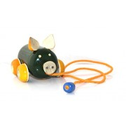 Pola Gifts Hand Made Wooden Pig Pull Along Toys Wooden Toys - Green