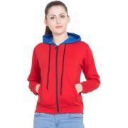 DELUX LOOK Women's Red Fleece Round Neck Hooded Sweatshirt
