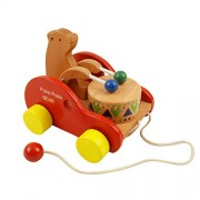 TOYMYTOY Wooden Push and Pull Toy Walk-A-Long Bear Toy (Drum Bear)