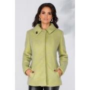 Palton Mery scurt din lana cu insertii verde neon
