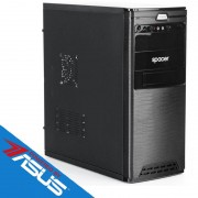 Sistem desktop Office V3 Powered by ASUS Intel Pentium Gold G5400 Dual Core 3.7 GHz 4GB DDR4 Intel UHD 630 SSD 120GB + HDD 1TB DVD-RW Free DOS Black