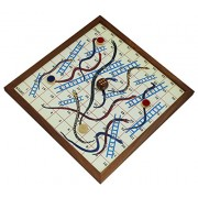 Snakes and Ladders Game Jumbo 4 Player Board Fun Travel Games Wooden 4 Coins and 1 Dice - 10.2 Inch