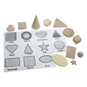 Wooden 2D and 3D Geometric Solid Shapes Match with Matching Cards - Montessori 2 Part Card - Geometry Work