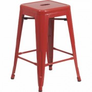 Flash Furniture Backless Metal Indoor/Outdoor Counter Height Stool - 24Inch H, Red, Model CH3132024RED