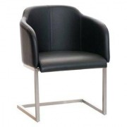 Sediadaufficio Poltroncina di design TOKIO PELLE, struttura in acciaio, seduta in pelle nera