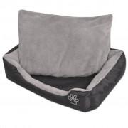 vidaXL Кучешко легло с подплатена възглавница, размер M, черно
