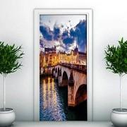 LeiDyWer Adhesivo para puerta 3D Mural Impermeable Papel autoadhesivo Dormitorio Decoración de la sala de estar90cm(W)*200cm(H)