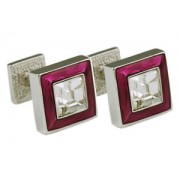 Mousie Bean Crystal Cufflinks Square Polo 003 Dark Pink/Crystal