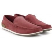 Clarks Medly Sun Red Suede Loafers For Men(Red)