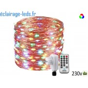 Guirlande LED 20M Multi-couleur 200 led sur fil cuivré IP44 230v. ref gl-14