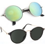 Elgator Cat-eye, Round Sunglasses(Black, Green)