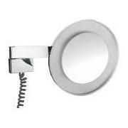 Emco LED Rasier- und Kosmetikspiegel, Vergrößerung 3 - fach Universal Doppelgelenkarm mit Spiralkabel und Zwischenstecker chrom 109606029