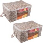 Pretty Krafts Underbed Storage Bag, Storage Organizer, Blanket Cover with Side Handles F1295_BrownP2(Brown)