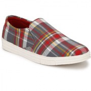 Style Shoe Men's Red Slip on Denim Canvas Shoes