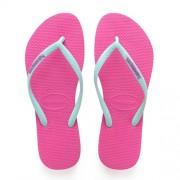 Havaianas Slim Logo teenslippers mintgroen/roze